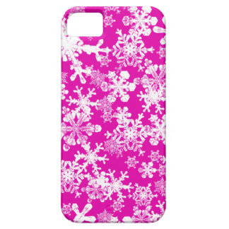 iPhone 5 Custom Case-Mate Pink with Snowflakes iPhone 5 Case