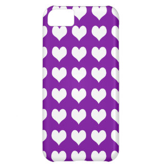 iPhone 5 Custom Case-Mate Purple with Hearts Cover For iPhone 5C