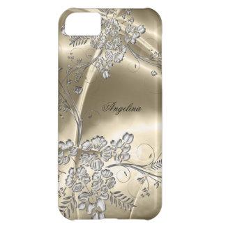 iPhone 5 Elegant Sepia Silver Metal Floral Look iPhone 5C Case