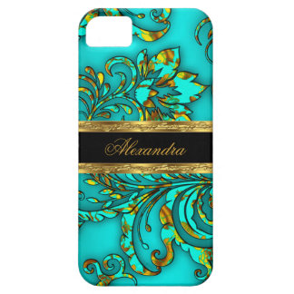 iPhone 5 Elegant Teal Gold Black Floral Damask Case For The iPhone 5