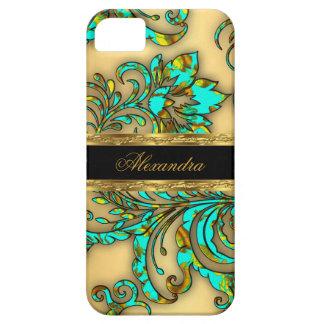 iPhone 5 Elegant Teal Gold Black Floral Damask iPhone 5 Cases
