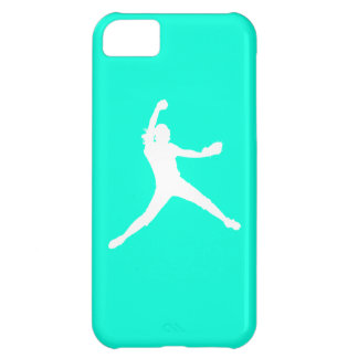iPhone 5 Fastpitch Silhouette White on Turquoise iPhone 5C Case