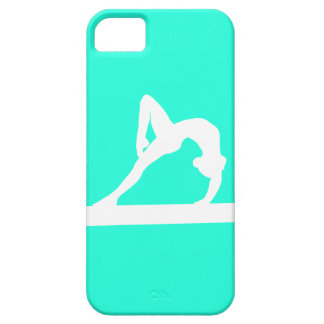 iPhone 5 Gymnast Silhouette White on Turquoise iPhone 5 Cases