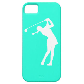 iPhone 5 Lady Golfer Silhouette White on Turquoise iPhone 5 Cover