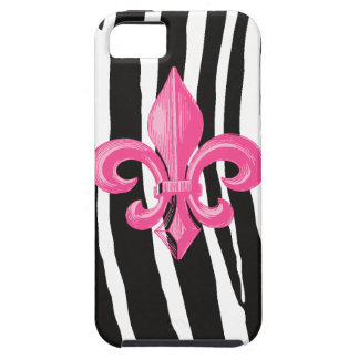 iPhone 5 Tough - Zebra w/ Hot Pink Fleur de Lis Tough iPhone 5 Case