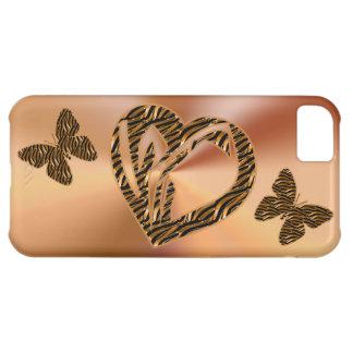 iPhone 5C Gold Cases Elegant Heart & Butterflies