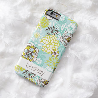 iPhone 6 Case | Flowers | Aqua Green Brown