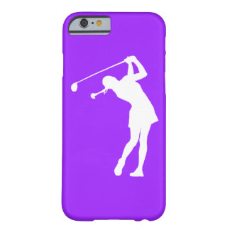 iPhone 6 case Lady Golfer Silhouette White on Purp