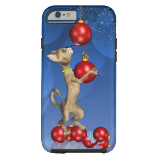 iPhone 6 case with fun holiday cat swinging Tough iPhone 6 Case