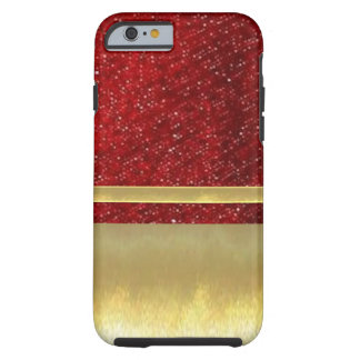 iPhone 6 Cool Red Glitter Pattern Gold Design Case