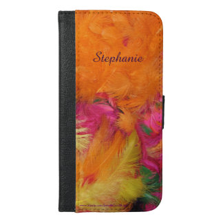 iPhone 6 Plus Wallet Case Orange Pink Feathers FUN