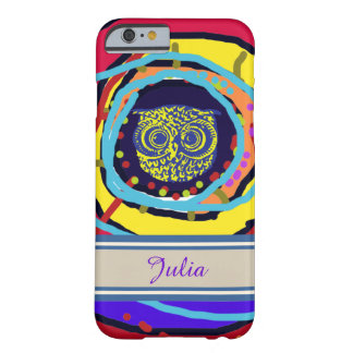 iPhone 6 with a colorful owl personalized-name Barely There iPhone 6 Case