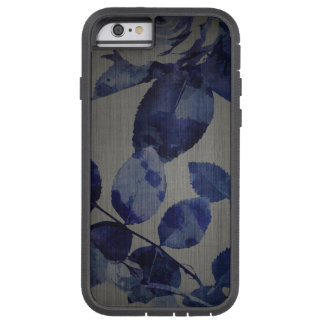 iPhone 7 Case Blue Flower Pattern on Grey