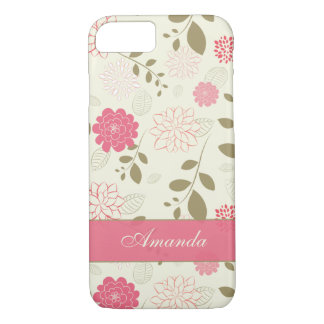 iPhone 7 Case   Flowers, Leaves   Pink Green Ivory