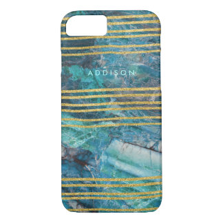 Iphone 7 Case Green Marble With Gold Lines