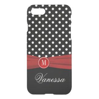 iPhone 7 Case | Monogram Black Red White Polka Dot