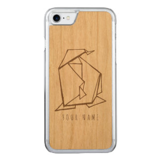 iPhone 7 case wood and origami penguin