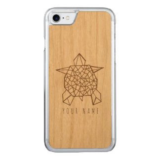 iPhone 7 case wood and origami tortoise
