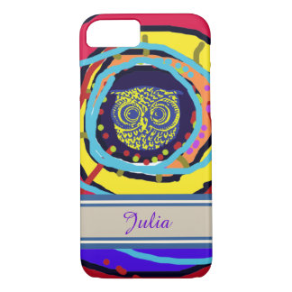 iPhone 7 with a colorful owl personalized-name iPhone 7 Case