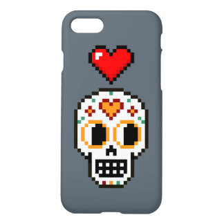 iPhone Case: 8-Bit Day of the Dead Loverboy Skull iPhone 8/7 Case