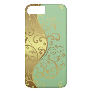 iPhone Case--Seafoam & Gold Swirls iPhone 8 Plus/7 Plus Case