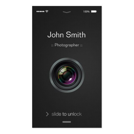 iPhone iOS Style - Camera Lens Photography Business Card Template