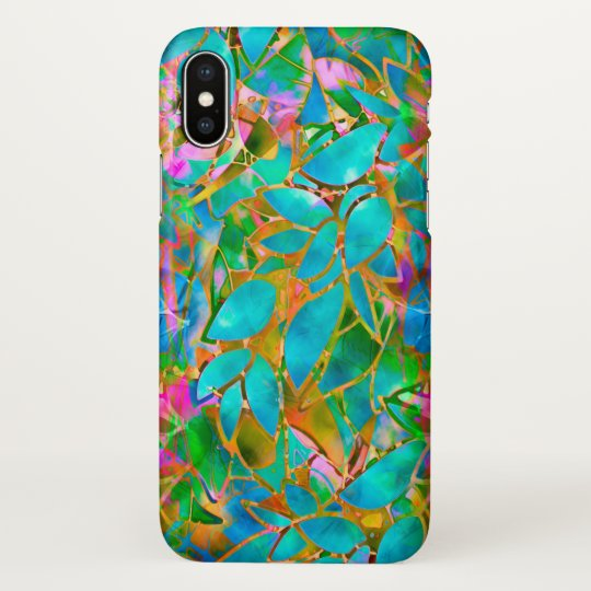 iPhone X Case Floral Abstract Stained Glass