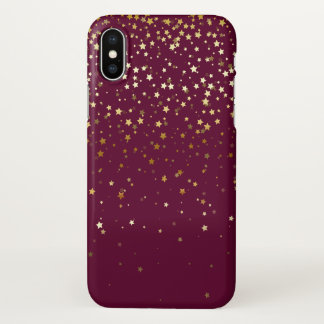 iPhone X Case Petite Golden Stars-Wine