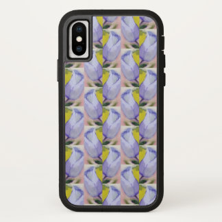 iPhone X case with painterly tulip pattern