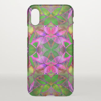 iPhone X Clearly Case Floral Fractal Art