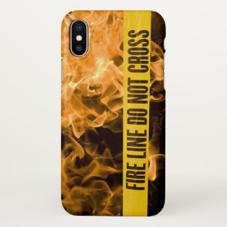 "IPhone X ""Fire Line Do Not Cross"" Glossy Case"