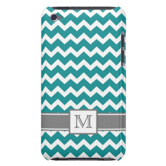 iPod Custom Monogram Grey Teal Chevrons iPod Touch Cases