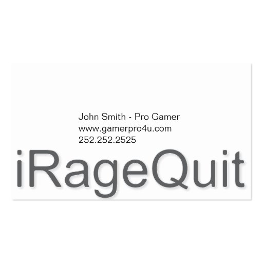 iRageQuit Rage Quitting Gamer Business Cards