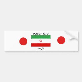 Iran Flag And Persian Farsi Language Design Bumper Sticker