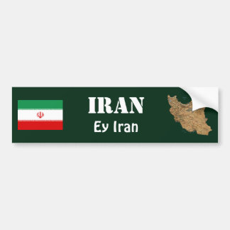 Iran Flag + Map Bumper Sticker