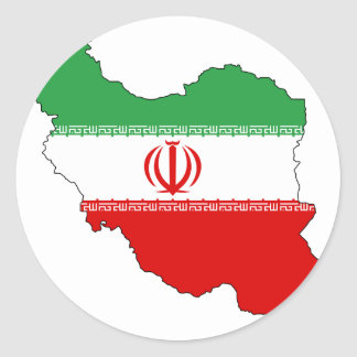 Iran flag map classic round sticker