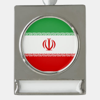 Iran Flag Silver Plated Banner Ornament