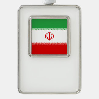 Iran Flag Silver Plated Framed Ornament