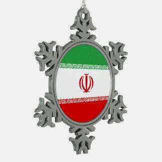 Iran Flag Snowflake Pewter Christmas Ornament