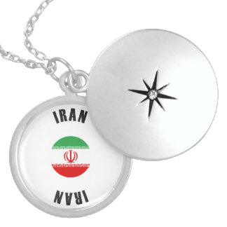Iran Flag Wheel Sterling Silver Necklace