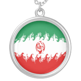 Iran Gnarly Flag Round Pendant Necklace