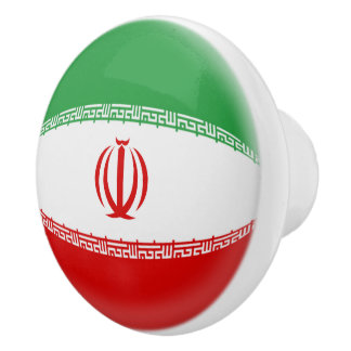 Iran Iranian Flag Ceramic Knob