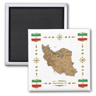 Iran Map + Flags Magnet