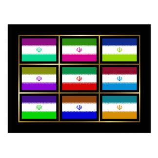 Iran Multihue Flags Postcard