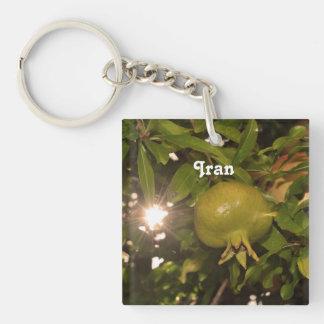Iran Pomegranate Single-Sided Square Acrylic Key Ring