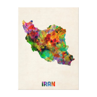 Iran Watercolor Map Gallery Wrapped Canvas