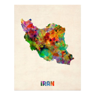 Iran Watercolor Map Personalized Flyer