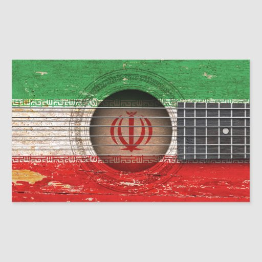 Iranian Flag on Old Acoustic Guitar Stickers