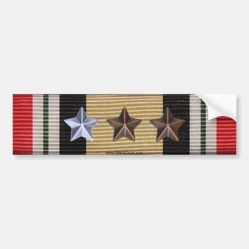 Iraq Campaign Medal Ribbon 7 Battle Stars Sticker Bumper Stickers