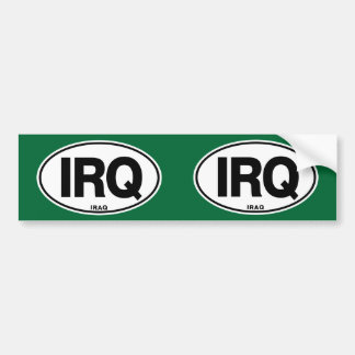 Iraq IRQ Oval ID Identification Code Initials Bumper Sticker